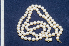 Helen Paddle jewelry pearls shorter strand (gold clasp)