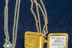 Helen Paddle jewelry gold locket Uncle Mac and gold chain with heart clasp - could be separated for use on the pocket watch