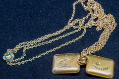 Helen Paddle jewelry gold locket Uncle Mac and gold chain with heart clasp - could be separated for use with the pocket watch