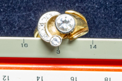 Helen Paddle jewelry gold white and yellow ring with 7 diamonds value $6750 Carol