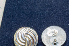 Helen Paddle jewelry silver earrings two sections of strandy swirls, circular