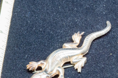 Helen Paddle jewelry silver brooch alligator salamander shape