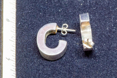 Helen Paddle jewelry silver earrings square tube C profile