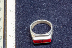Helen Paddle jewelry silver ring with red stone ribbon square-ish