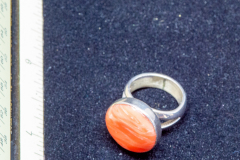 Helen Paddle jewelry silver ring with round orange stone