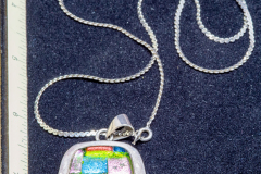 Helen Paddle jewelry silver necklace and pendant handmade with glass rectangular