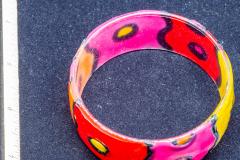 Helen Paddle jewelry plastic bangle red yellow orange polka dots Patti
