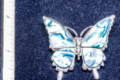 Helen Paddle jewelry abalone inlay butterfly brooch