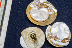 Helen Paddle jewelry gold costume earrings and brooch mother of pearl, pearls, yellow stone, large Patti giving back to estate
