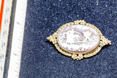 "Helen Paddle jewelry gold cameo brooch 1-1/2"" wide delicate Patti giving back to the estate"