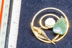 Helen Paddle jewelry brooch jade leaf white rose gold Patti giving back to the estate