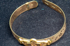 Helen Paddle jewelry gold bracelet rigid coloured gold antique, Patti giving back to estate