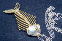 Helen Paddle jewelry silver necklace with large silver fish brooch with hefty chain Patti